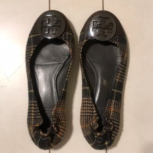 Tory Burch plaid and leather reva flats
